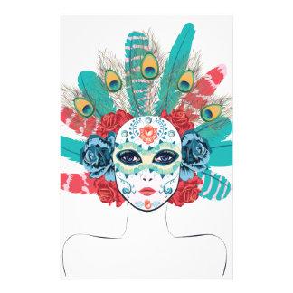 Masque avec des roses et des plumes papier à lettre personnalisable