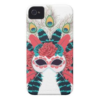 Masque avec des roses et Feathers2 Coques iPhone 4 Case-Mate