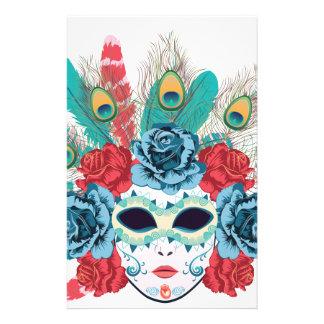 Masque avec des roses et Feathers3 Motifs Pour Papier À Lettre