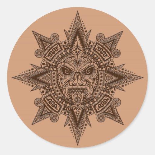 Masque aztèque Brown de Sun Adhésif Rond