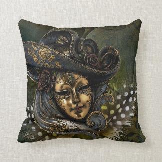 Masque de carnaval - carreaux d'or de mascarade oreillers