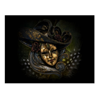 Masque de carnaval d'or avec le chapeau et les cartes postales