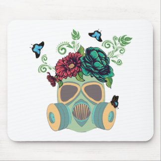 Masque de gaz avec Roses4 Tapis De Souris