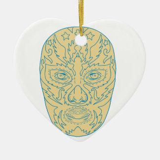 Masque de Luchador Lucha Libre Ornement Cœur En Céramique