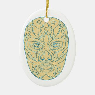 Masque de Luchador Lucha Libre Ornement Ovale En Céramique
