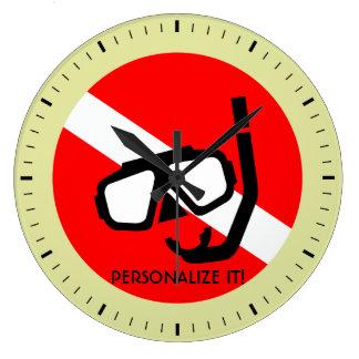 Masque de plongée avec le drapeau grande horloge ronde