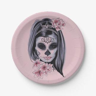Masque de squelette de femme assiettes en papier