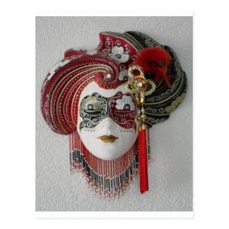 Masque en céramique vénitien carte postale