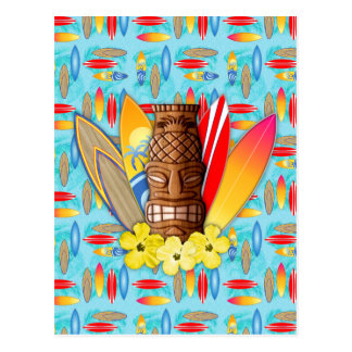 Masque et planches de surf de Tiki Carte Postale