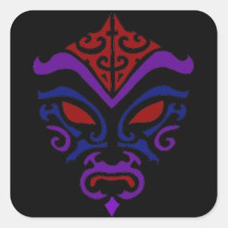 Masque foncé de Goth Kabuki de style tribal de Sticker Carré