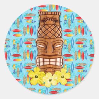 Masque hawaïen de Tiki Sticker Rond