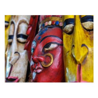 Masque indien indou sur la carte postale de mur