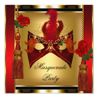 Masque noir de partie de mascarade d'or de rose carton d'invitation  13,33 cm