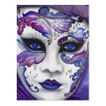 Masque pourpre de carnaval par PSOVART Cartes Postales