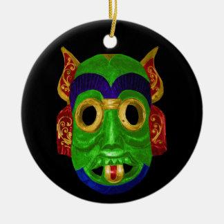 Masque thaïlandais traditionnel ornement rond en céramique