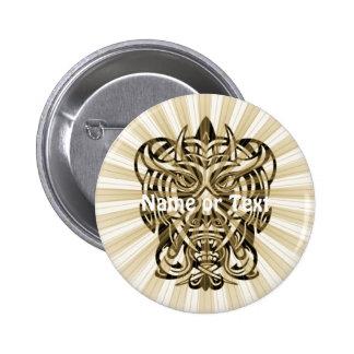 Masque tribal méchant 008 badge rond 5 cm