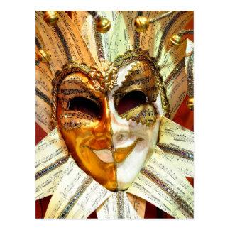 Masque vénitien de farceur de carnaval avec Bells Cartes Postales