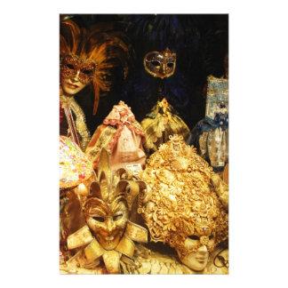 Masques vénitiens de carnaval - Venise, Italie Papier À Lettre Personnalisé