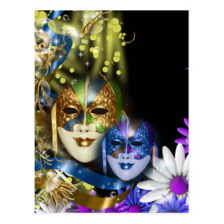 Masques vénitiens de quinceanera de mascarade carte postale
