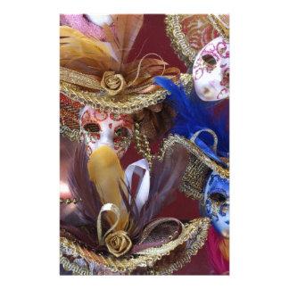 masques vénitiens miniatures papier à lettre customisé