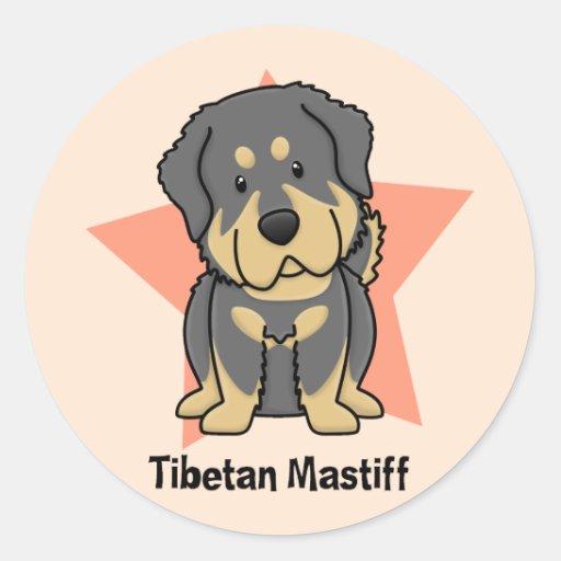 Mastiff tibétain d'étoile de Kawaii Adhésif Rond