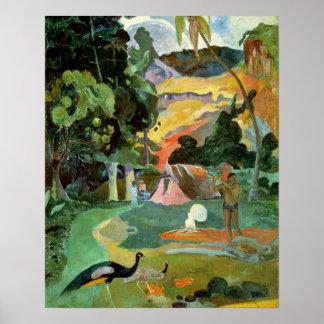 Matamoe ou, paysage avec des paons, 1892 posters