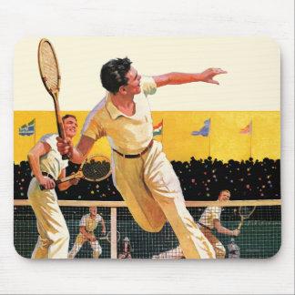 Match de tennis de doubles tapis de souris