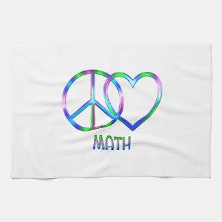 Maths brillantes d'amour de paix serviettes pour les mains