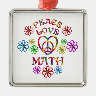 Maths d'amour de paix ornement carré argenté
