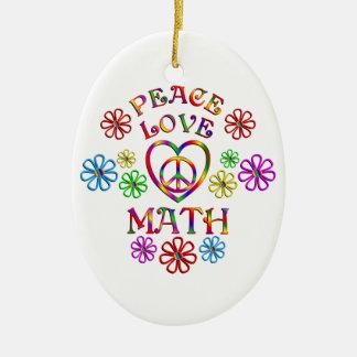 Maths d'amour de paix ornement ovale en céramique