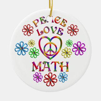 Maths d'amour de paix ornement rond en céramique
