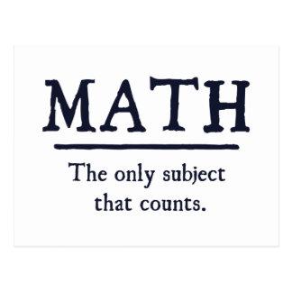 Maths le seul sujet qui compte carte postale