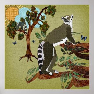 Matin d'olive de lémurs poster