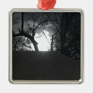 Matin mystérieux ornement carré argenté