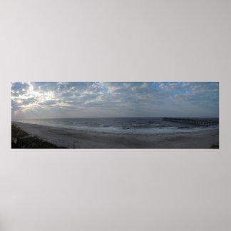 Matin sur le panorama de plage - île de chêne, OR Affiche