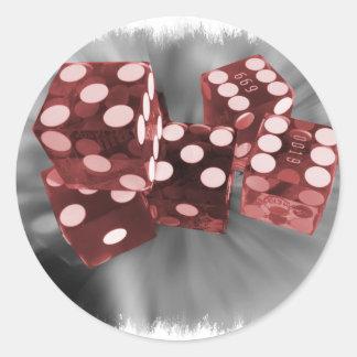 Matrices rouges Las Vegas de flambeur Sticker Rond