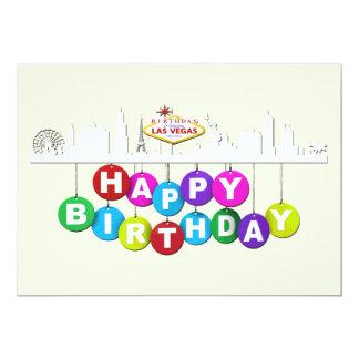 """Matte 5"""" d'anniversaire de Las Vegas x 7"""", Carton D'invitation 12,7 Cm X 17,78 Cm"""