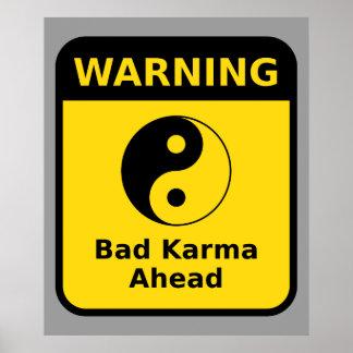 Mauvais avertissement de karma poster