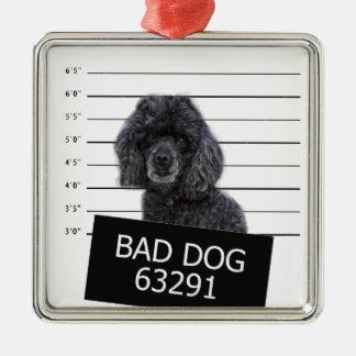 Mauvais chien ornement carré argenté