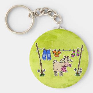 mauvaise chèvre porte-clé rond