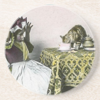Mauvaise fille de thé vintage de Kitty d'invité Dessous De Verre En Grès