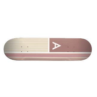 Mauve Brown et rayures vertes Rayé Skateboard Customisable