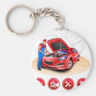 Mécanicien automobile porte-clé rond
