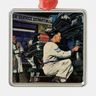 Mécanicien automobile vintage d'affaires, service ornement carré argenté