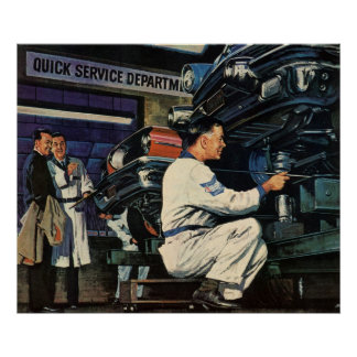 Mécanicien automobile vintage d'affaires, service posters