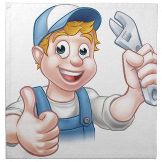 Mécanicien ou plombier de personnage de dessin serviettes imprimées