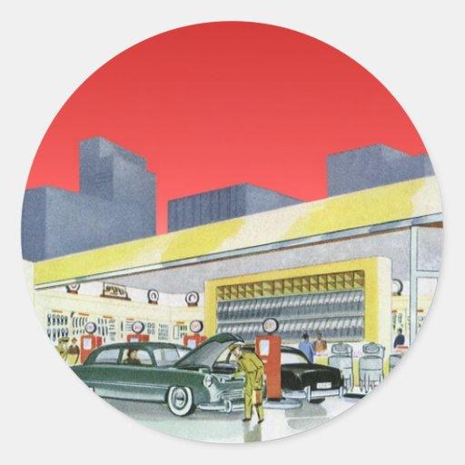 Mécaniciens automobiles complets vintages de garag autocollant rond