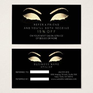 Mèches de charme de noir d'or de scintillement de cartes de visite