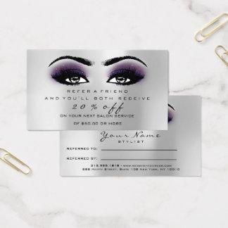 Mèches de violette d'argent de maquillage de carte