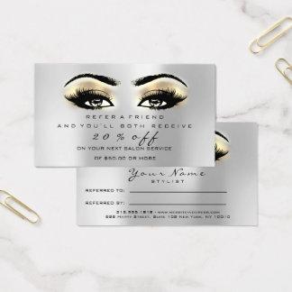 Mèches d'or de maquilleur de carte de référence de